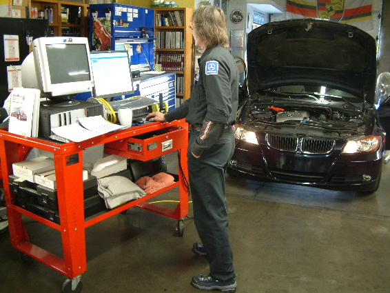 Mike diagnosing a BMW with the ICOM System.