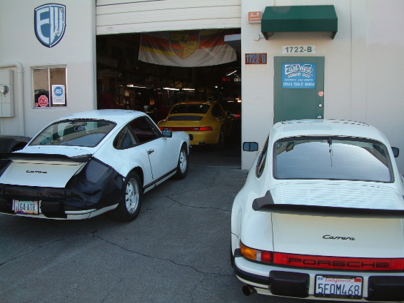 Shop front with Porsches