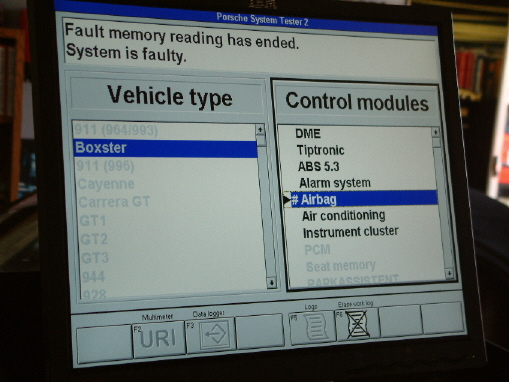 Porsche PST2 diagnostic system viewed on our flat screen monitor.